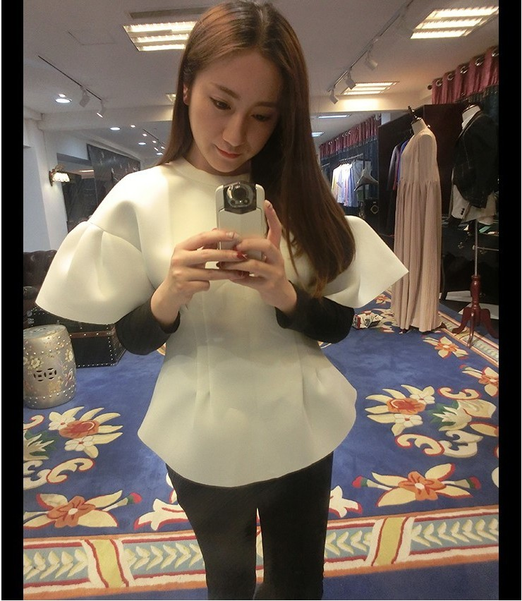 2019 hot selling Girls fashion thick soft top blouses office lady casual white ruffle tops Korean