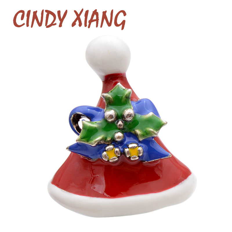 CINDY XIANG 3 Colors Avaibale Enamel Christmas Hat Brooches For Women And Men Unisex Party Fashion Jewelry New Design Kids Gift in Brooches from Jewelry Accessories