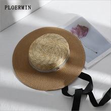 8b2223d1323eeb 2019New Women Summer Sun Hat Elegant rhinestone Flat Top Black Ribbon Wind  Rope Classical Straw Hat