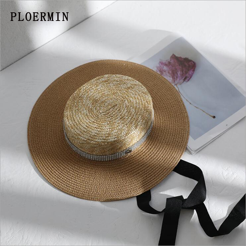 2019New Women Summer Sun Hat Elegant rhinestone Flat Top Black Ribbon Wind Rope Classical Straw Hat Anti-UV Boater Hat Beach Cap image