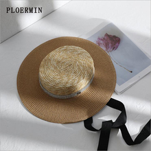 2019New Women Summer Sun Hat Elegant rhinestone Flat Top Black Ribbon Wind Rope Classical Straw Hat Anti-UV Boater Hat Beach Cap
