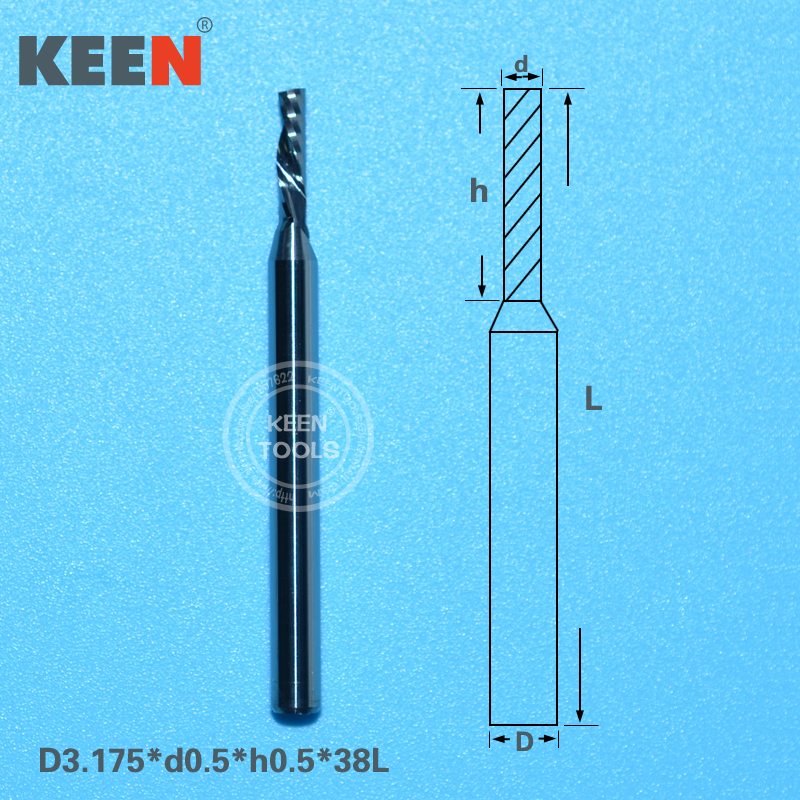 3 175 0 5 0 5mm One Spiral Flute Tungsten Carbide Micro End Mill CNC Router
