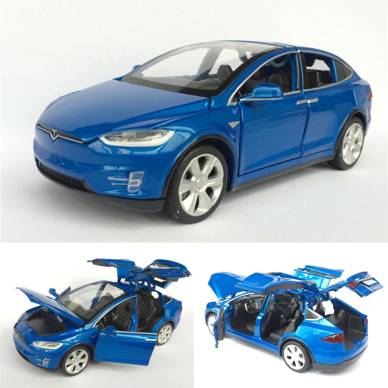 1:32 Alloy Car Model Tesla MODEL X Metal Diecast Toy Vehicles Car With Pull Back Flashing Musical For Baby Gifts Free Shipping