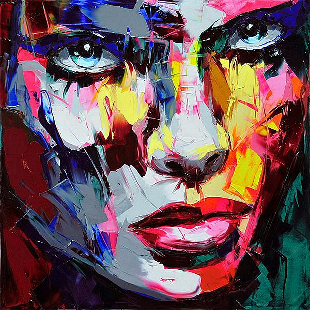 Multicolore couteau œuvre abstraite femme visage Portrait toile peinture pour salon mur Art décorations pour la maison livraison directe personnalisé - 1