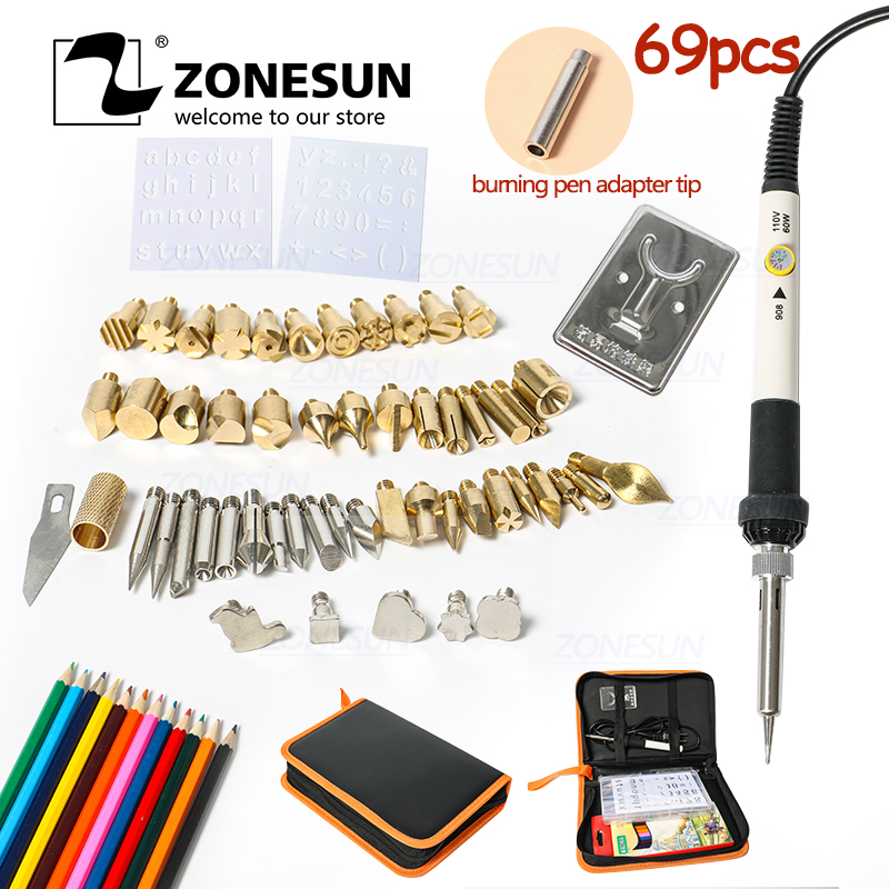 ZONESUN Hot Foil Stamping Soldering Iron Carving Pyrography Tool Wood Embossing Burning Soldering Pen Set Welding Tips Kit