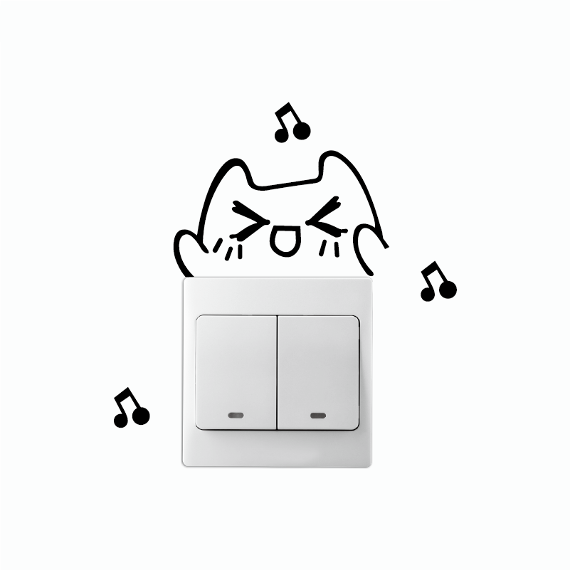 Love-86 Lovely Cat Singing Switch Sticker Funny Cartoon Animal Vinyl Wall Sticker Home Wallpaper