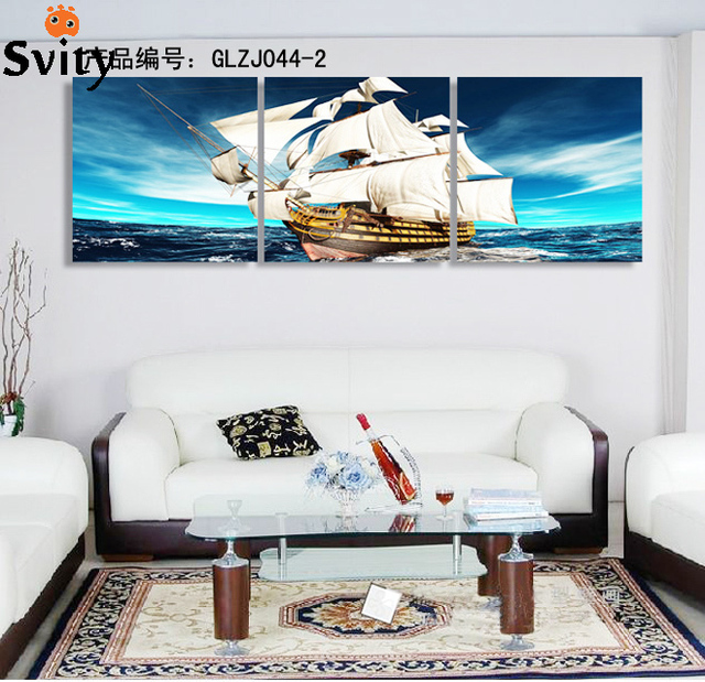 3 square some areas free shipping home decoration art canvas painting ocean sailing digital image