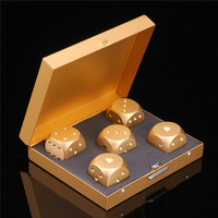 10sets Multi Function Golden Metal Gambling Dice Set 16mm Board Game Dices Bar KTV Party Casino