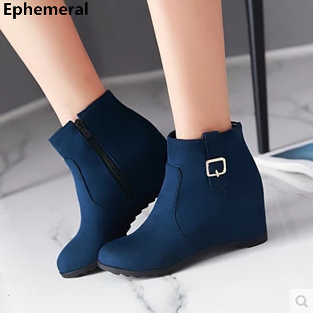 273631b04ee Ladies Fashion Warm Zipper Buckle Boots Plus size 34-43 High Increasing  Heel Round toe