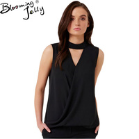 Blooming Jelly O Neck Elegant Black Tops V Hollow Out Sleeveless Fashion Chiffon Top Summer Blouses