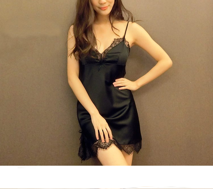 Women Lady Sexy Pajamas Tracksuit Summer Light Weight Lace Suspenders Smooth Black