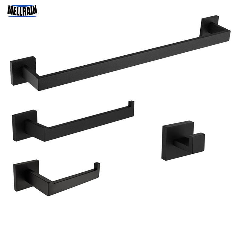 Matt Black Bathroom Bath Hardware Sets Toilet Paper Holder & Towel Bar & Towel Ring & Cloth Robe Hook Towel Rack Set Kit. oil rubbed bronze bathroom toilet paper holder roll towel bar holder wall mounted