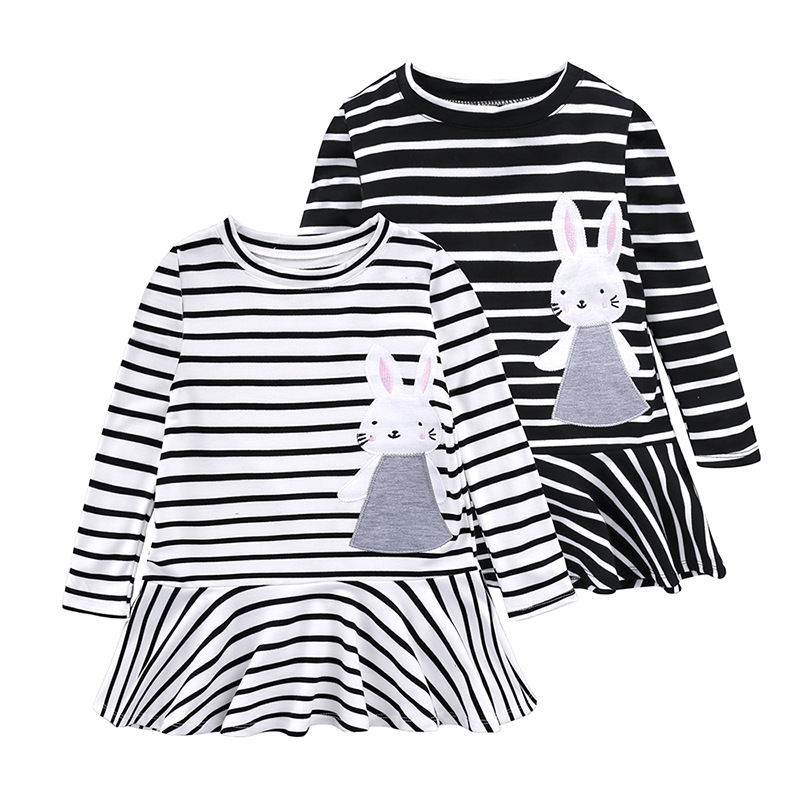 2018 Casual Autumn Toddler Baby Girl Summer Clothes Kids Dresses For Girls Children Clothing Stripe Embroidery Dress 2 6 7 Years summer fashion autumn 2016 girls dress girl cartoon dress baby clothes child clothing kids clothes for age 2 3 4 5 6 7 years old