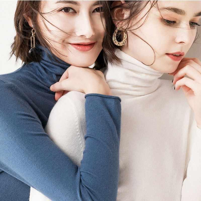 Портной овечий кашемировый свитер, Женский Повседневный шерстяной пуловер с длинными рукавами и высоким воротником, зимние женские вязаные топы