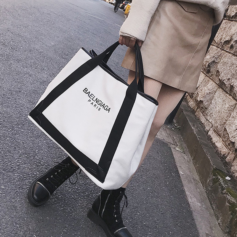 New Fashion Tote Bags Handbag Elegant Simple Canvas Hit Color Big Bag High Quality Large Capacity Single Shoulder Diagonal Tide hs rhyme canvas woman stripe bags ladies bags korean color shoulder diagonal color canvas bag in three chains