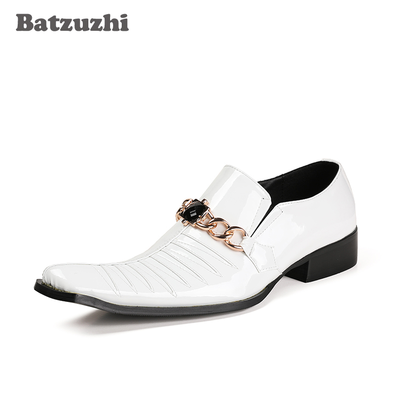 Batzuzhi Handmade Men Shoes Square Toe Genuine Leather Shoes Male Formal White Wedding Dres Shoes Black Business Zapatos HombreBatzuzhi Handmade Men Shoes Square Toe Genuine Leather Shoes Male Formal White Wedding Dres Shoes Black Business Zapatos Hombre