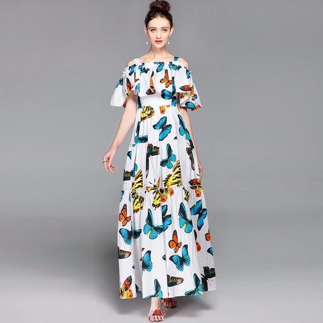 721b509aec Elegantes Vestidos Largos de Moda Insectos Fresca Capa Mangas 2017 Blanco  de Verano Impresión de la