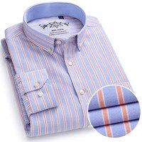 New Spring Autumn Oxford Mens dress shirts long sleeve Cotton casual Slim shirt solid plaid camisa Big size 4XL social masculina