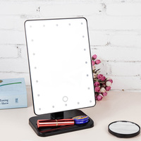 2018 New Magnifier LED Touchscreen Makeup Mirror Portable 20 LEDs Lighted Cosmetic High Quality Mirrors FM88