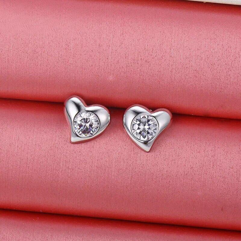 cebbd980f MxGxFam Heart Stud Earrings for Love Women AAA+ Cubic Zircon Fashion  Jewelry White Gold Color Lover Gifts-in Stud Earrings from Jewelry &  Accessories on ...