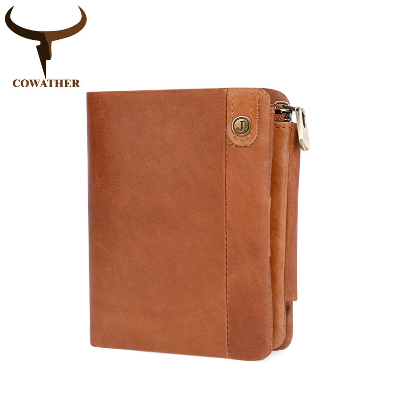 COWATHER top cow genuine leather short mens wallet for men vintage male purse high quality 2018 new design C2075 free shipping cowather 2017 new men wallet cow genuine leather for men top quality male purse long carteira masculina free shipping r 8122q