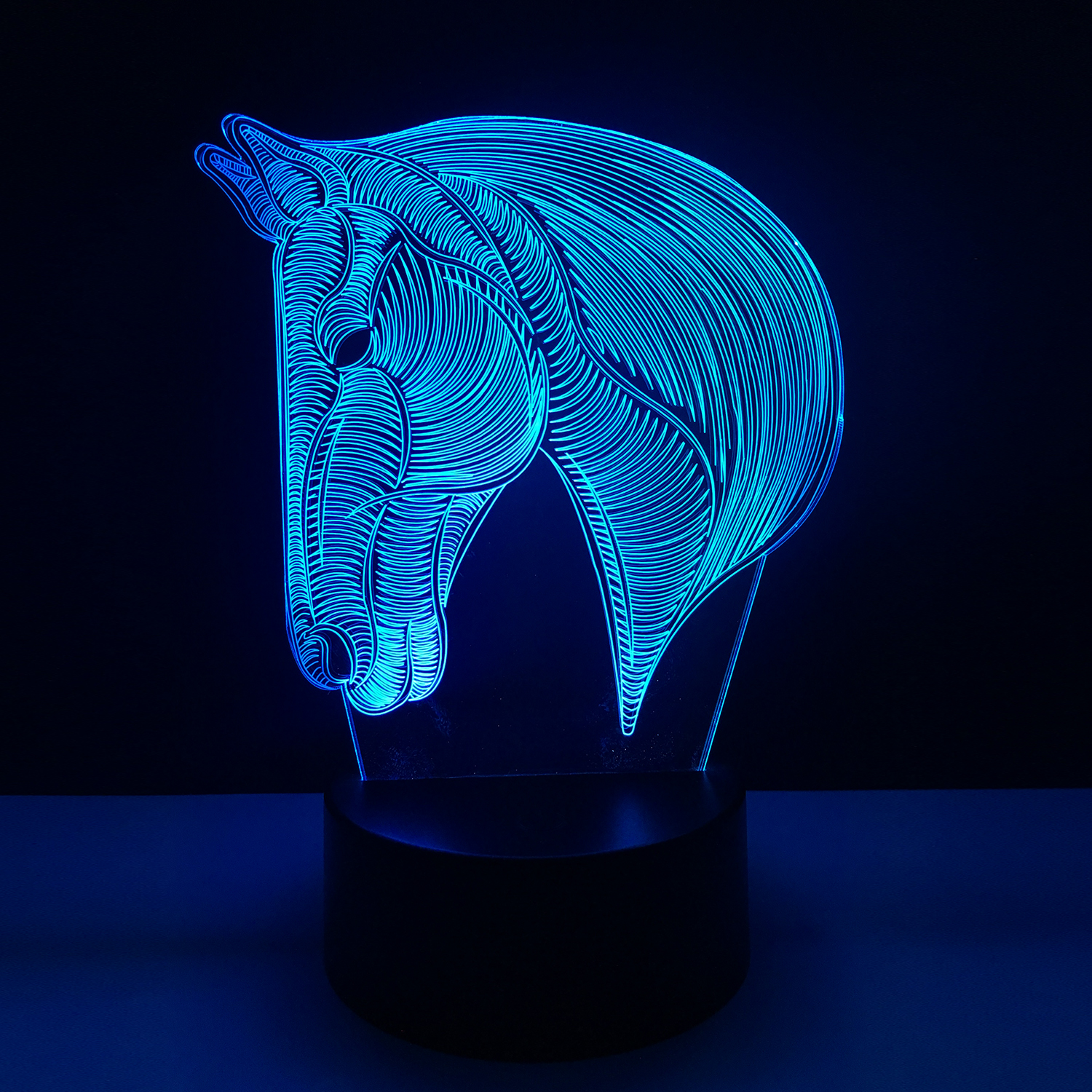 Color : Acrylic Earphone Childrens Room Decoration lamp/& Optical Bedside Table Night Lights 7 Colour Home Decor Remote Touch Switch Desk Light Horse