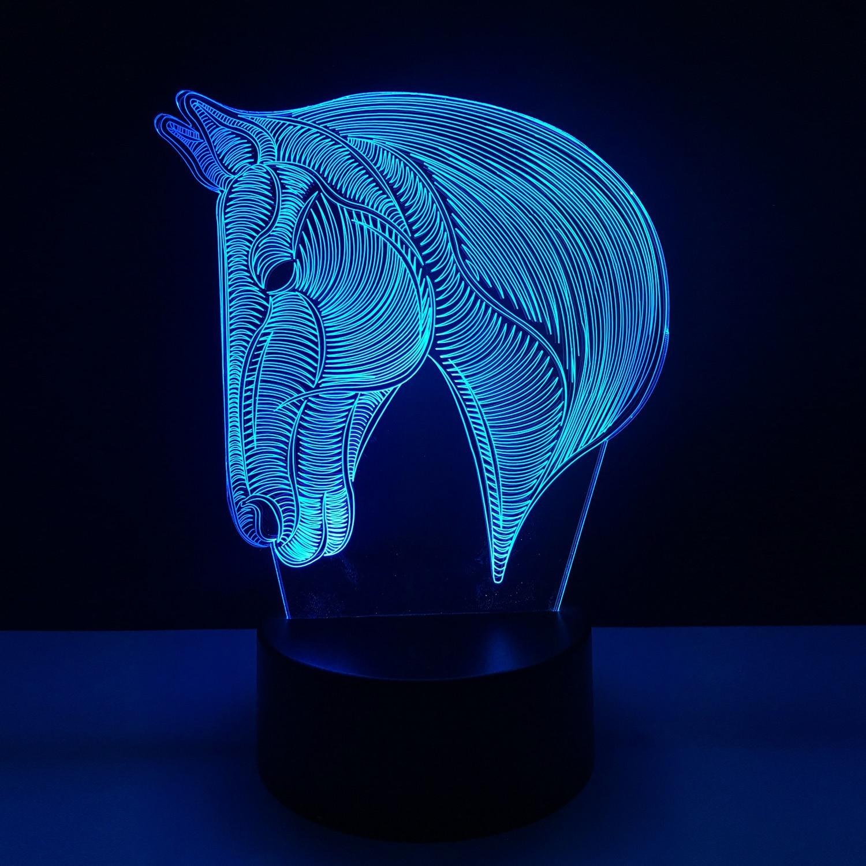 USB Presentes Da Novidade 7 Cores Mudando Animal Cavalo Candeeiro de Mesa Mesa de luz Da Noite LEVOU 3D USB toque de Bebê Criança Dormir decoração de casa