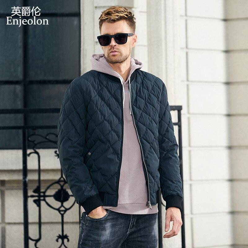 Enjeolon marka zima bawełny kurtka watowana mężczyźni grube geometryczne płaszcz z kapturem mężczyzna pikowana kurtka zimowa płaszcz 3XL MF0703 w Parki od Odzież męska na  Grupa 3