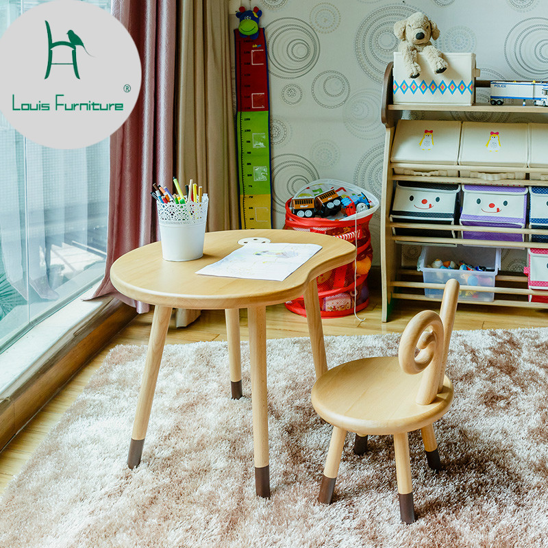 Louis Fashion Solid Wood Children's Desk and Chair Set Kindergarten Home Study Combination