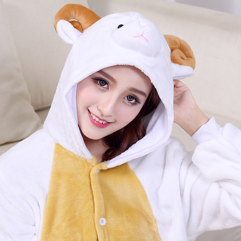 Cute Sheep Kigurumi Animal Onesies For Adult Men Winter One-Piece Pajamas Halloween Party Jumpsuit Soft Flannel Cosplay Costume (1)