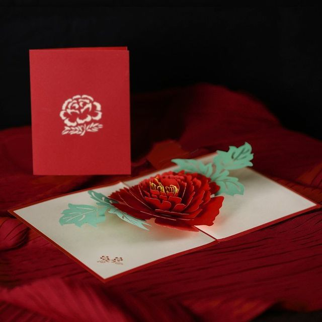 Aliexpress Buy 3D three dimensional greeting cards roses – Valentine Cards for Lovers