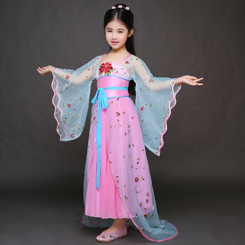 traditional chinese dance costumes women children national