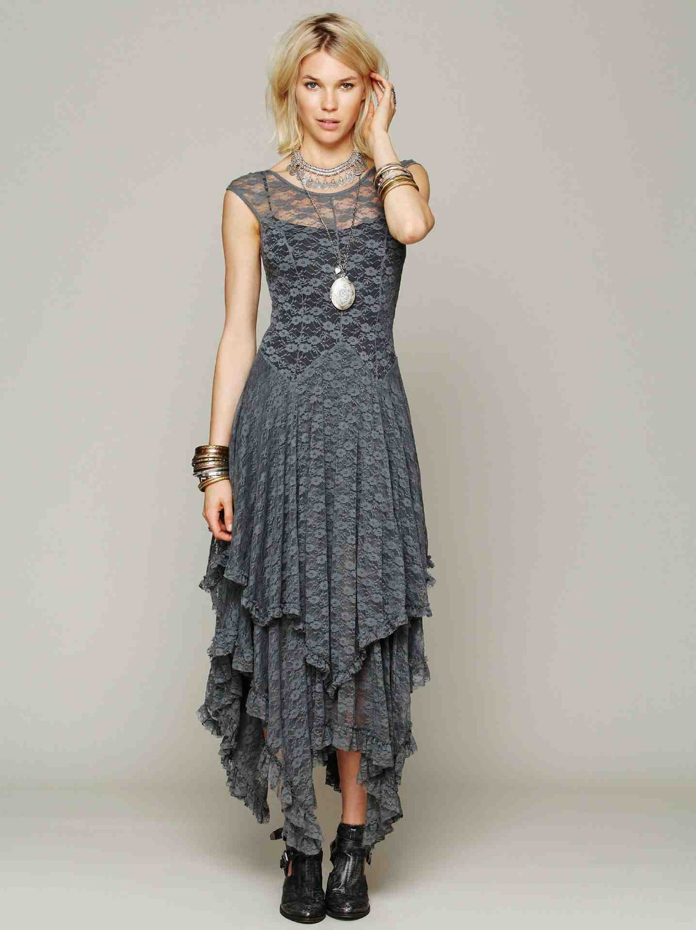 U neck maxi dress dressy