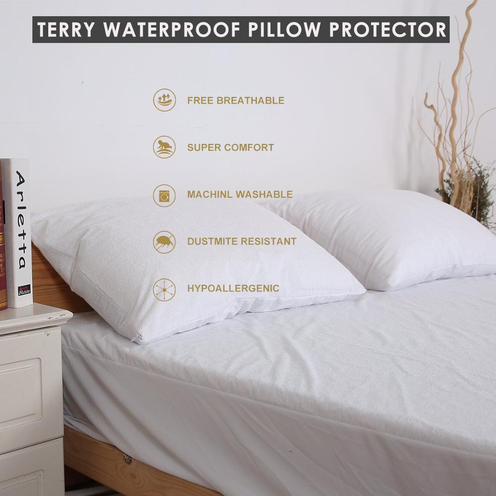 LFH 50X70CM Terry Vattentät Pillow Protector För Bed Bug Proof Allergi Protection Pillow Covers Pustarduk En Pair