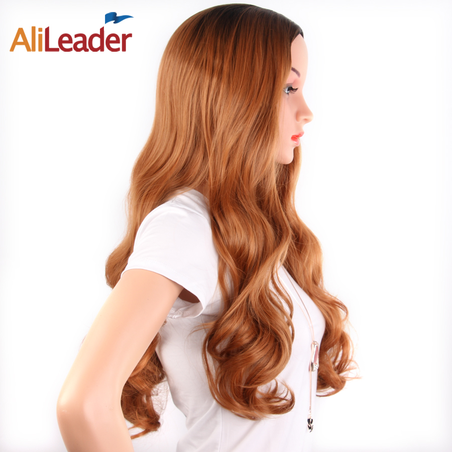 AliLeader 26inch Long Body Wave Hair Heat Resist Synthetic Wigs Women Hair Cosplay Party Bob Wig Light Purple Brown Medium