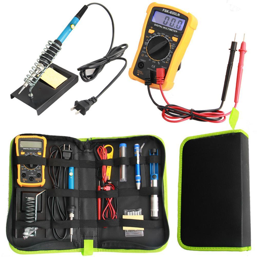Multimeter With Electric Soldering Iron Set Kit 60W Adjustable Temperatur Digital Display Combination Welding Tool Set