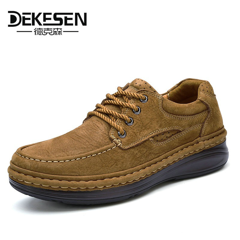 DEKESEN 2017 New arrival Genuine Leather Mens Shoes Spring Autumn Male Casual Shoes High Quality Outdoor Shoes for men Brand dekesen new graffiti trendy sneakers shoes for men 100