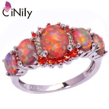 Cinily orange fire opal orange garnet silver plated ring wholesale wedding party gift for women jewelry.jpg 350x350