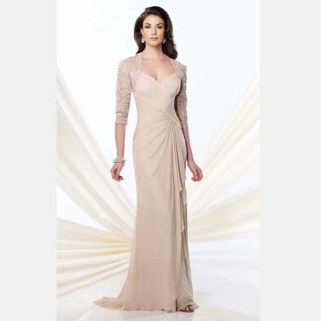 2017 Gracioso Vestido Longo Bege de Renda Mãe Da Noiva Vestidos Mulheres vestido Formal Plissado Vestido de Noite Robe de Soirée