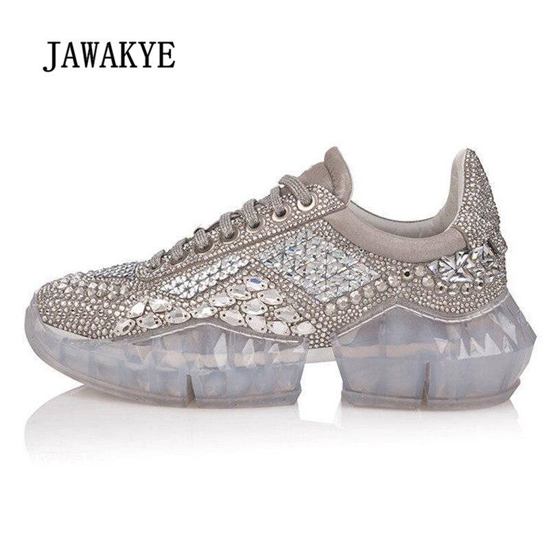 Новинка 2019 года, женские кроссовки на платформе, с острым носком, со стразами, с прозрачной подошвой, повседневная женская обувь