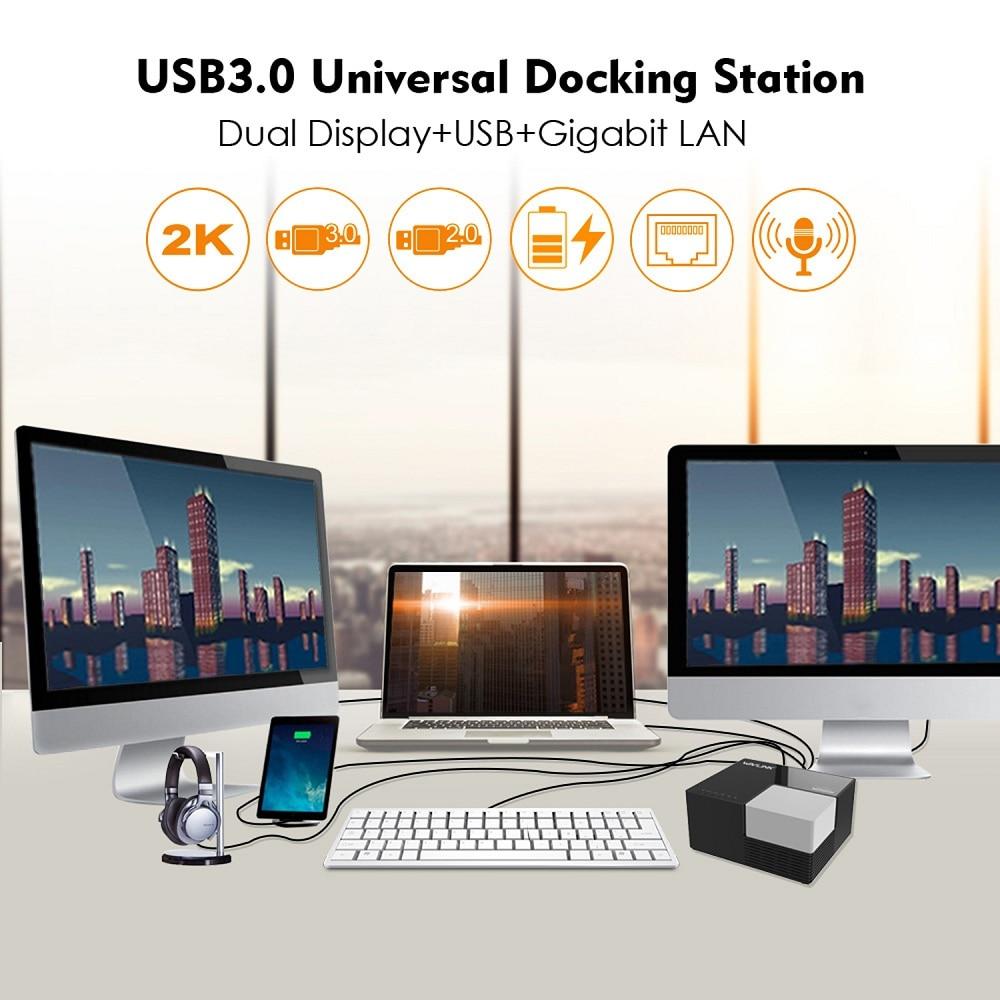 Wavlink 9 Ports Universal USB 3 0 Docking Station Dual Video Display 4GB DVI HDMI VGA to 2048 1152 USB Hub fast Charging Gigabit in Laptop Docking Stations from Computer Office
