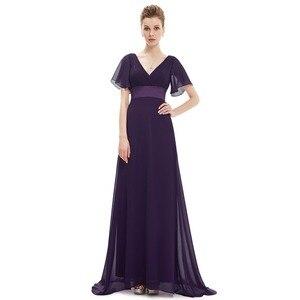 Image 4 - 紫色のイブニングドレスプラスサイズエレガントなaラインシフォンロングパーティードレスレディース安い特別な日のドレススリーブ