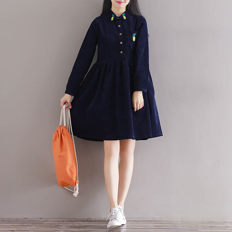 2017 New Spring Autumn Women Clothing Preppy Vintage Solid Long Sleeve  Pineapple Embroidery Plus Size Corduroy Dress Mori Girl-in Dresses from  Women s ... 71a21adfd6e8