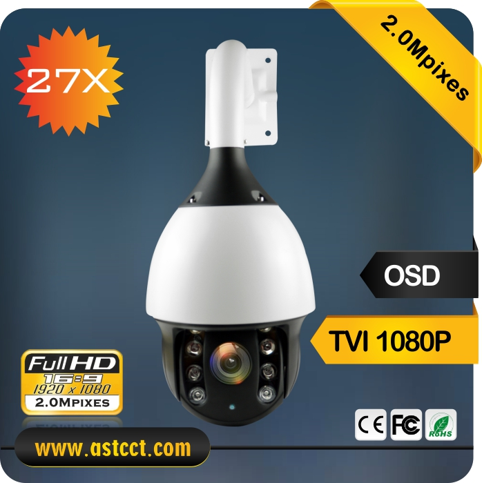 1080P TVI Output High Speed Dome Camera 27x Zoom TVI PTZ Camera Outdoor Camera Support Coaxial control Night Vision 150m ir high speed dome camera ahd tvi cvi cvbs 4 in 1 1080p output 18x ir night vision 150m ptz dome camera ip66 waterproof outdoor