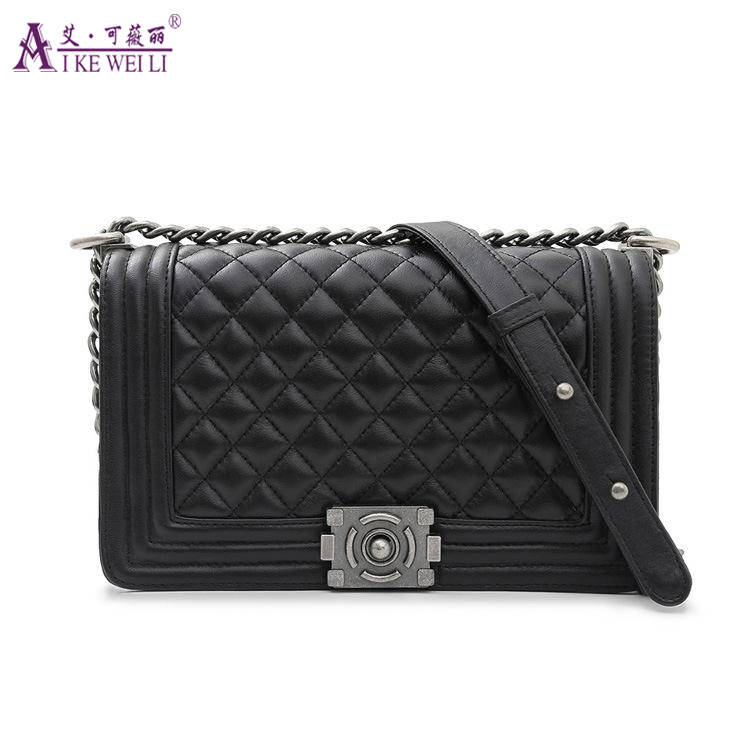 ФОТО AIKEWEILI Women's Genuine Leather Handbag Fashion Sheepskin Plaid Chain Purse Shoulder Bags Cross-body Women's Bag