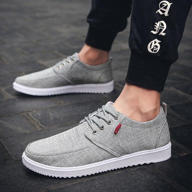 אופנה פנאי גברים נעלי בד מקרית תפירת שרוכים שטוח לגפר נעלי מוצק אביב Autumm לנשימה בני סניקרס