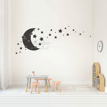 Baby Nursery Moon Stars Wall Decal Kids Room Carton Stickers Children Decor Art Cut Vinyl N57