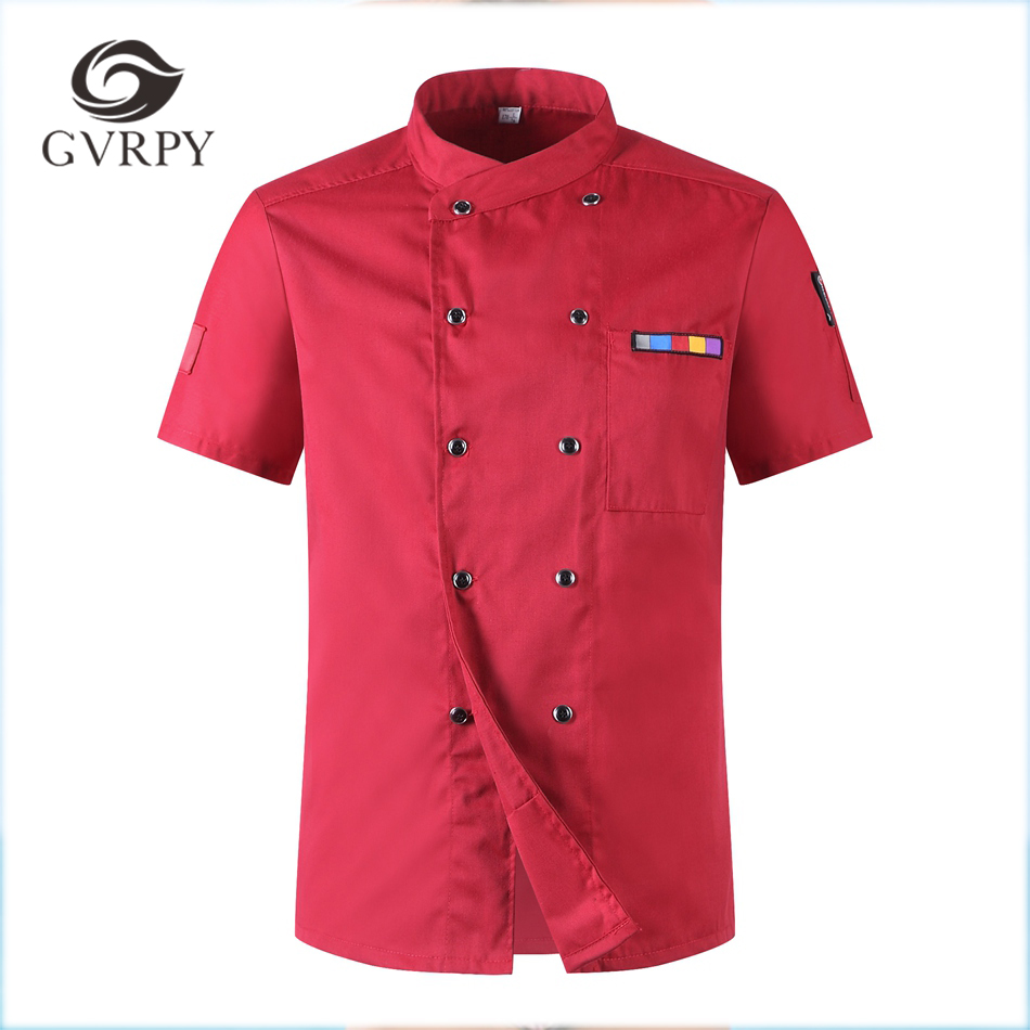 Unisex Chef Uniforms Short Sleeve Breathable Double Breasted Jackets Food Services Cooking Clothes With Pocket Bakery Restaurant