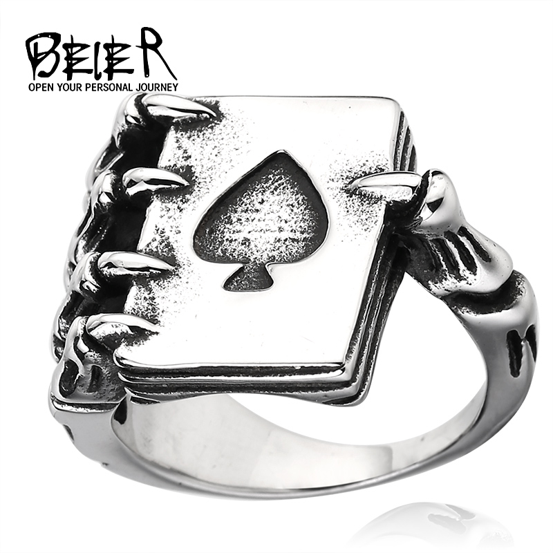 BEIER 2017 new store Fashion cool product Poker Spade Ring Factory Price 316L Stainless Steel Jewelry BR8-256
