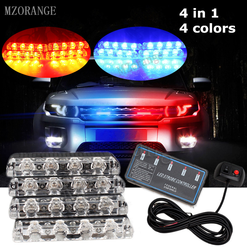 MZORANGE 4X4LED Ultra-thin Wired Control Auto Car Grille Strobe Warning Light Flashing DRL Ambulance Emergency Police Day Lights цена
